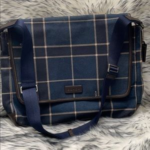 Coach Mens Vintage Plaid Canvas & Leather Bag